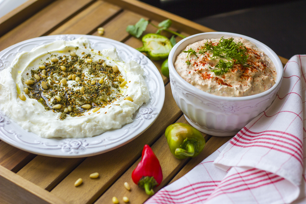 típico yogur casero del Líbano con zaatar